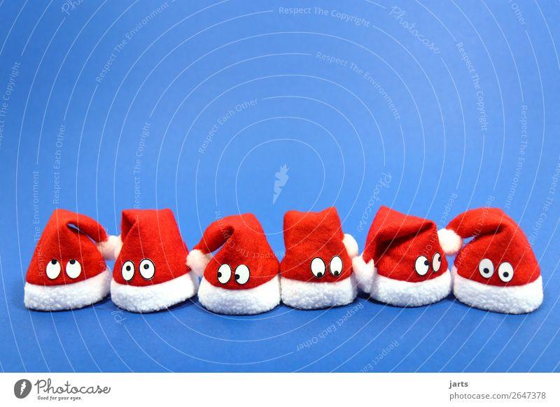 weihnachtsteam blau I Weihnachten & Advent Auge 6 Mensch Menschengruppe Mütze Blick lustig Neugier niedlich rot weiß staunen Denken Nikolausmütze Team warten