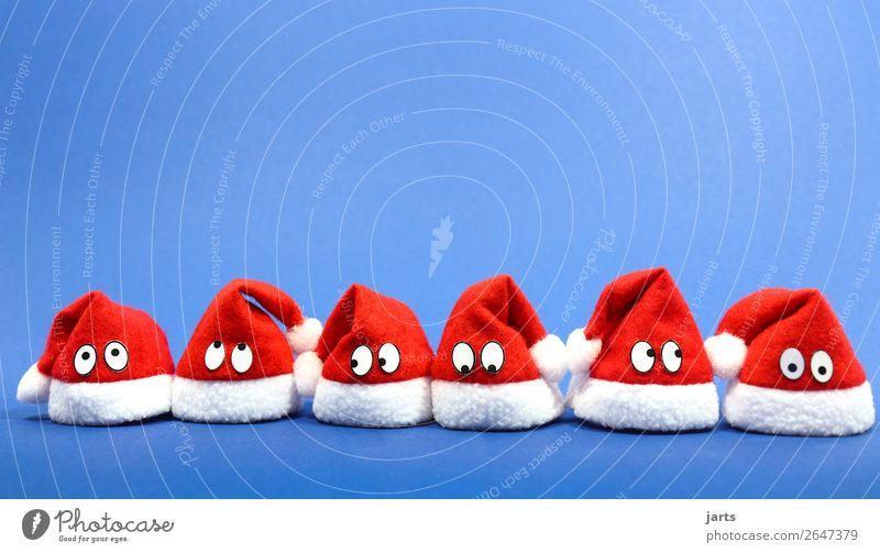 weihnachtsteam blau IV Mütze lustig rot weiß mehrere Nikolausmütze Weihnachten & Advent Auge Team Weihnachtsmann Farbfoto mehrfarbig Studioaufnahme Nahaufnahme