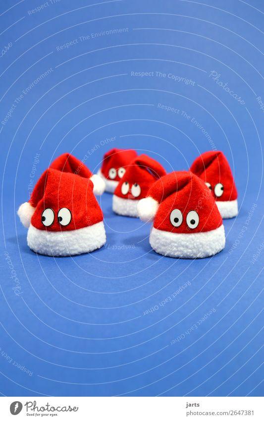 weihnachtsteam blau III Weihnachten & Advent Mütze Blick lustig rot weiß nachdenklich Nikolausmütze mehrere Team Weihnachtsmann Farbfoto mehrfarbig
