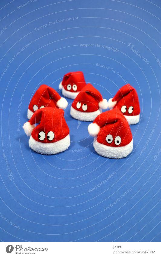 weihnachtsteam blau II Weihnachten & Advent Gesicht 6 Mensch Menschengruppe Mütze Denken lustig rot weiß Neugier Überraschung nachdenklich Nikolausmütze Team