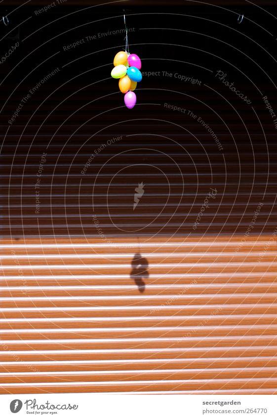 tief hängende eier. Lebensmittel Ei Feste & Feiern Ostern Jahrmarkt Jalousie Dekoration & Verzierung Kitsch Krimskrams Holz Kunststoff Kugel glänzend braun gelb