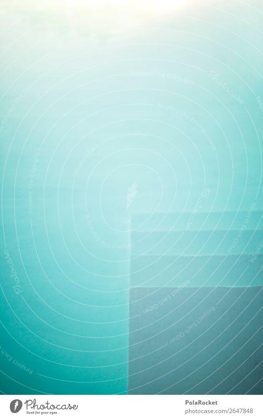 #AS# Into The Blue Kunst Kunstwerk Gemälde ästhetisch Schwimmbad Wasser Wasseroberfläche blau graphisch Grafische Darstellung Treppe Sommer abstrakt Architektur