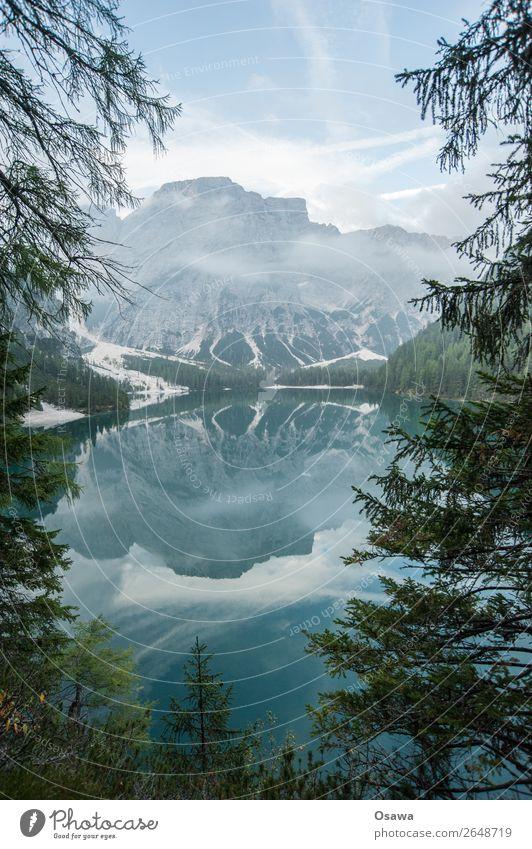 Pragse Wildsee - Lago di Braies Umwelt Natur Landschaft Baum Wasser Himmel Wolken Alpen Berge u. Gebirge Südtirol See Pragser Wildsee wandern blau grün ruhig