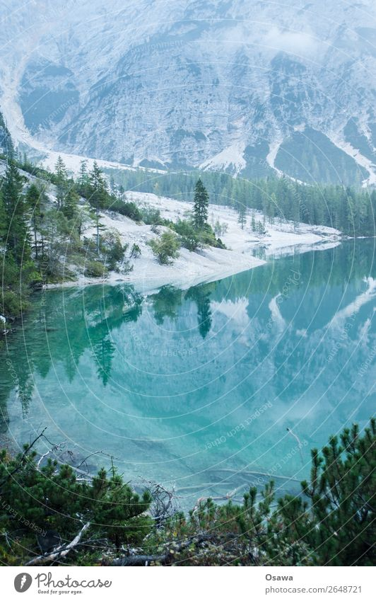 Pragser Wildsee - Lago die Braies Umwelt Natur Landschaft Baum Wasser Himmel Wolken Alpen Berge u. Gebirge Südtirol See wandern blau grün ruhig Naturerlebnis