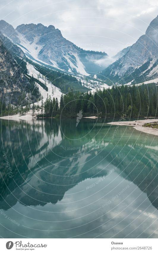 Pragser Wildsee - Lago di Braies Umwelt Natur Landschaft Baum Wasser Himmel Himmel (Jenseits) Wolken Alpen Berge u. Gebirge Südtirol See wandern blau grün ruhig