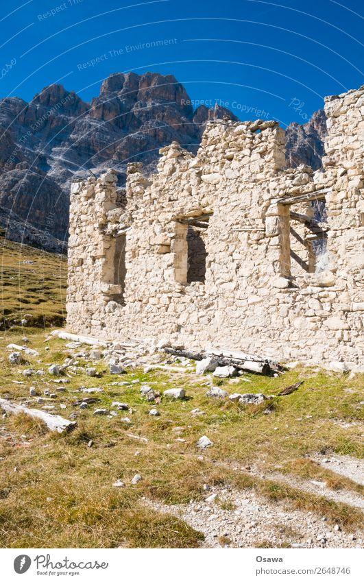 Rifugio Popena Italien Südtirol Alpen Berge u. Gebirge Felsen Gebäude Gipfel Landschaft Dolomiten wandern Bergsteigen Klettern Natur Hütte Alm Zerstörung