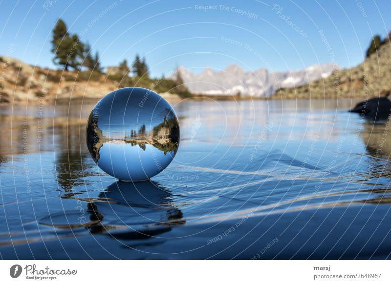 Zeit zum Innehalten | 900 harmonisch ruhig Berge u. Gebirge Natur Landschaft Herbst Eis Frost Alpen Dachstein See Gebirgssee Spiegelsee Glaskugel Kugel