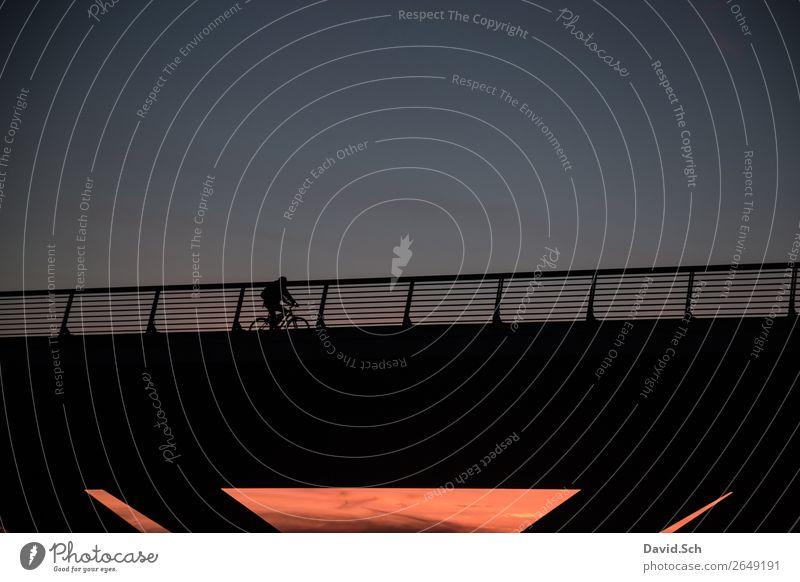 Radfahrer auf einer Brücke bei Sonnenuntergang Fahrradfahren Mensch Körper 1 Sonnenaufgang Herbst Stadt Verkehr Bewegung sportlich blau orange nachhaltig