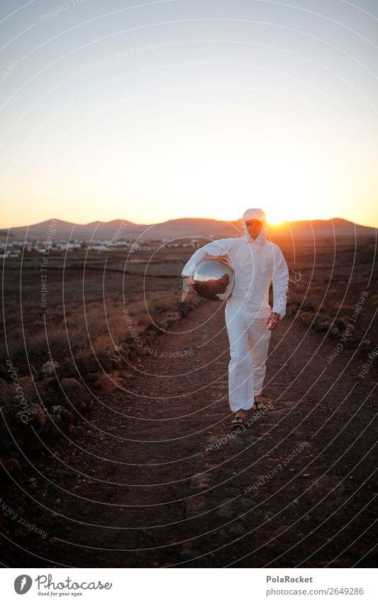 #AS# pioneer 1 Mensch ästhetisch Astronaut Raumfahrthelm laufen Außerirdischer außergewöhnlich außerirdisch außerorts Mars Marslandschaft Marsianer Pionier