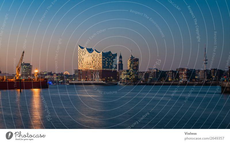 Hamburg, Nacht, Lichter, Langzeitbelichtung Hafen Elbphilharmonie Michel Dunkel Skyline