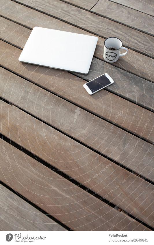 #AS# business brunch Lifestyle Freizeit & Hobby ästhetisch Erholung Kaffee Holztisch Holzplatte Holzfußboden Notebook Handy Kaffeebecher Pause Kaffeepause