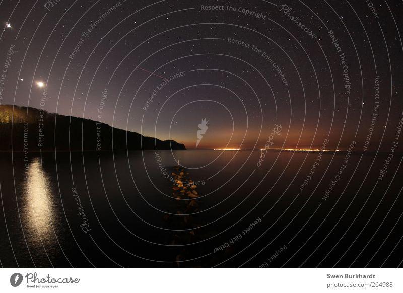 Vom Himmel kommt es, zum Himmel steigt es Meer Umwelt Natur Landschaft Urelemente Wasser Wolkenloser Himmel Nachthimmel Stern Horizont Mond Wetter