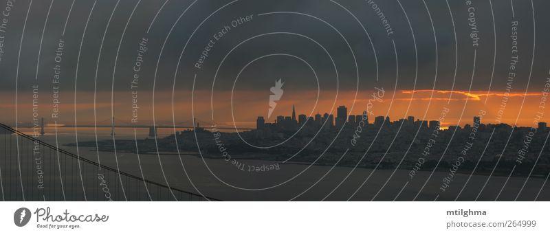 Stadt Ferien & Urlaub & Reisen Meer Wolken Landschaft Architektur grau Küste Tourismus Brücke Skyline Kalifornien Rochen Pazifik majestätisch San Francisco
