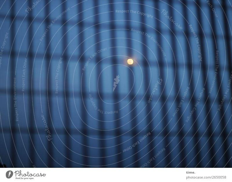 #° Bauzaun Gitter Himmel Nachthimmel Mond Metall Kugel Linie Streifen Netzwerk dunkel gruselig Gefühle Gelassenheit geduldig ruhig Ausdauer standhaft Hoffnung