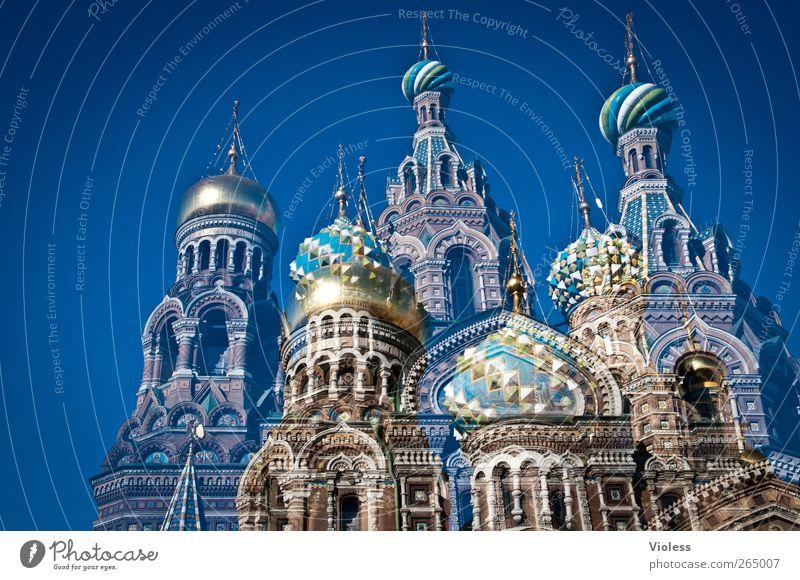 Blutkirche Architektur Gebäude Kirche Bauwerk Glaube historisch Denkmal Wahrzeichen Doppelbelichtung Sehenswürdigkeit Russland Kathedrale Hafenstadt