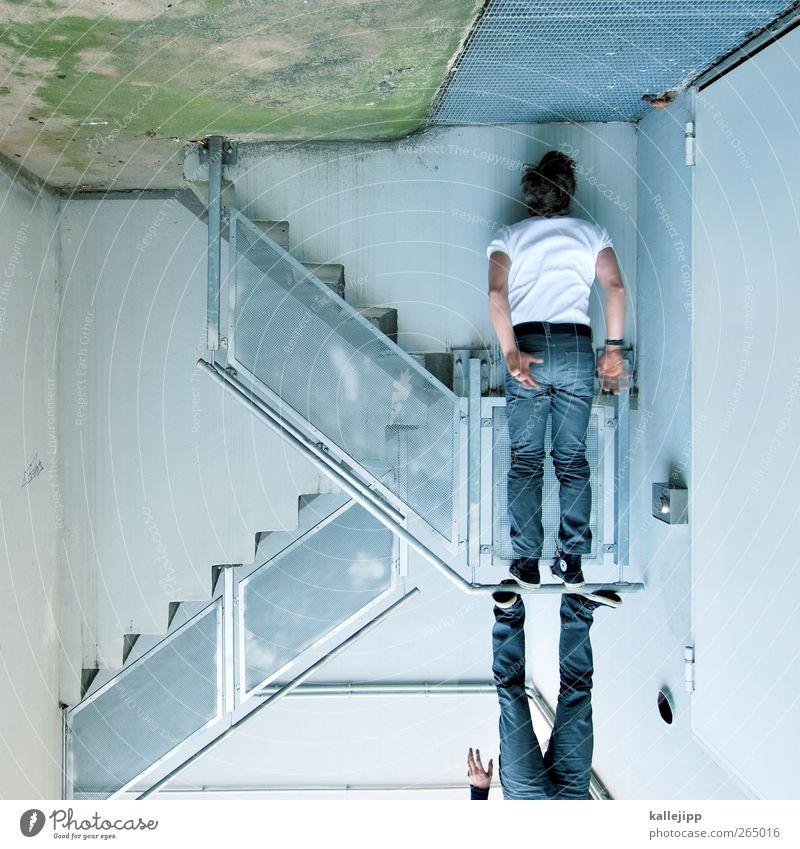 batman Mensch maskulin Mann Erwachsene Körper 2 Mauer Wand Treppe Fassade hängen stehen Le Parkour Fledermäuse Geländer Jeanshose Chucks Autotür Farbfoto