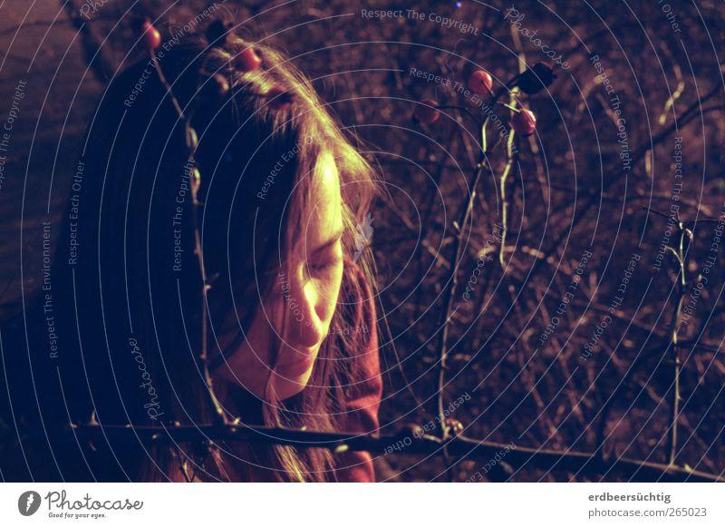 where wildroses grow Natur Jugendliche Einsamkeit ruhig Gesicht Erholung feminin Traurigkeit träumen ästhetisch Junge Frau Sträucher Romantik Rose weich Sehnsucht