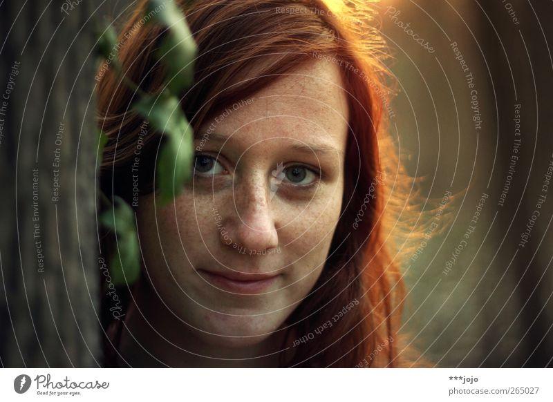 hallo julia. Mensch feminin Junge Frau Jugendliche 1 18-30 Jahre Erwachsene Pflanze schön Efeu Baumstamm Baumrinde Blick Blatt Haare & Frisuren leuchten
