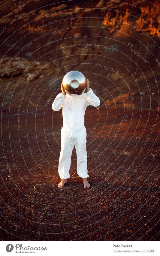#AS# I am ready Mensch maskulin selbstbewußt Kunst ästhetisch Mars Marslandschaft rot weiß Helm Kugel silber Marsianer Kostüm Karnevalskostüm Astronaut