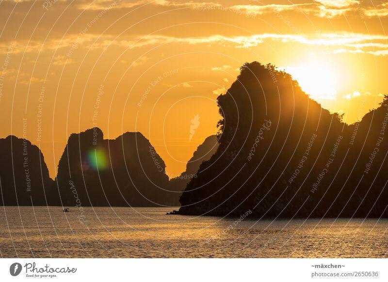 Halong Bay II Natur Landschaft Urelemente Wasser Himmel Schönes Wetter Hügel Felsen Wellen Küste Bucht Meer schön gelb gold orange Zufriedenheit Romantik
