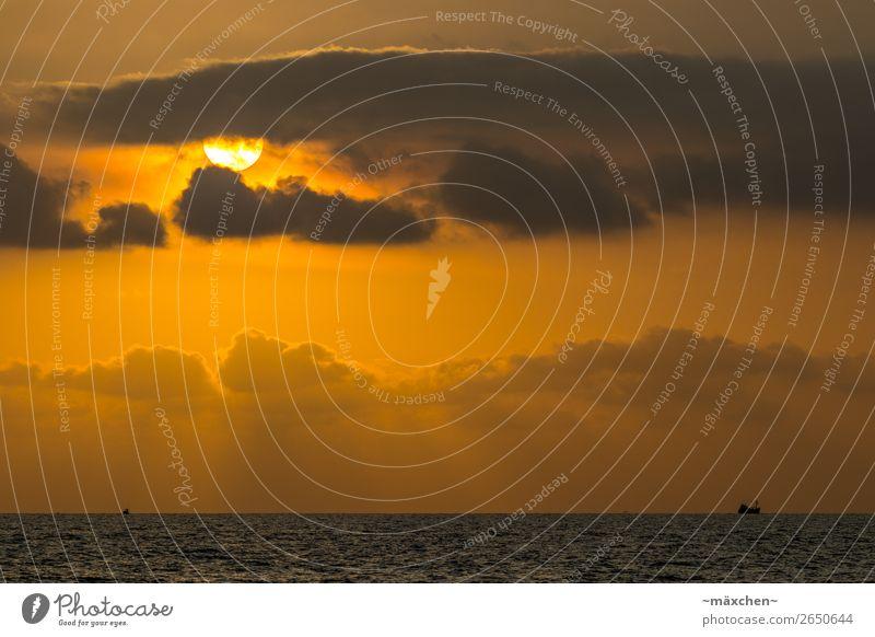 Die letzten Sonnenstrahlen Natur Landschaft Himmel Wolken Sonnenaufgang Sonnenuntergang Sonnenlicht Schönes Wetter Wellen Meer Schifffahrt Fischerboot schön