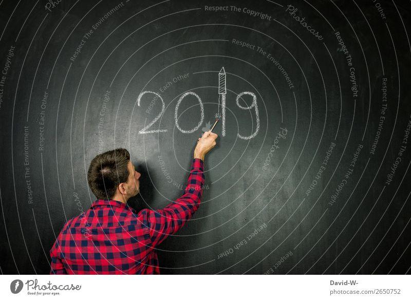 das neue Jahr begrüßen Silvester u. Neujahr Mensch maskulin Junger Mann Jugendliche Erwachsene Leben Kopf Arme Hand Finger 1 Kunst Künstler Kunstwerk beobachten