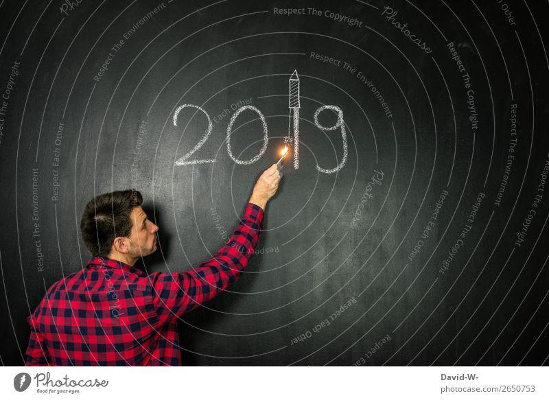 2019 kann kommen Stil Design Silvester u. Neujahr Mensch maskulin Junger Mann Jugendliche Erwachsene Leben Hand Kunst Künstler Kunstwerk träumen Wunsch