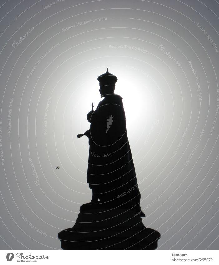 King Edward VII in Adelaide Mann Erwachsene 1 Mensch Skulptur Australien Denkmal Krone stehen leuchten Bekanntheit dunkel elegant historisch grau schwarz weiß