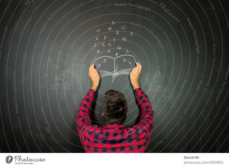 Gedanken einfangen Mensch Jugendliche Mann Junger Mann Erwachsene Leben Business Kunst Schule außergewöhnlich Denken maskulin Erfolg lernen Buch Idee