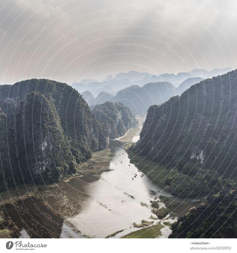 Tràng An - Ninh Binh - Vietnam Umwelt Natur Landschaft Urelemente Erde Wetter Nebel Hügel Felsen Berge u. Gebirge Ferien & Urlaub & Reisen natürlich gestaffelt