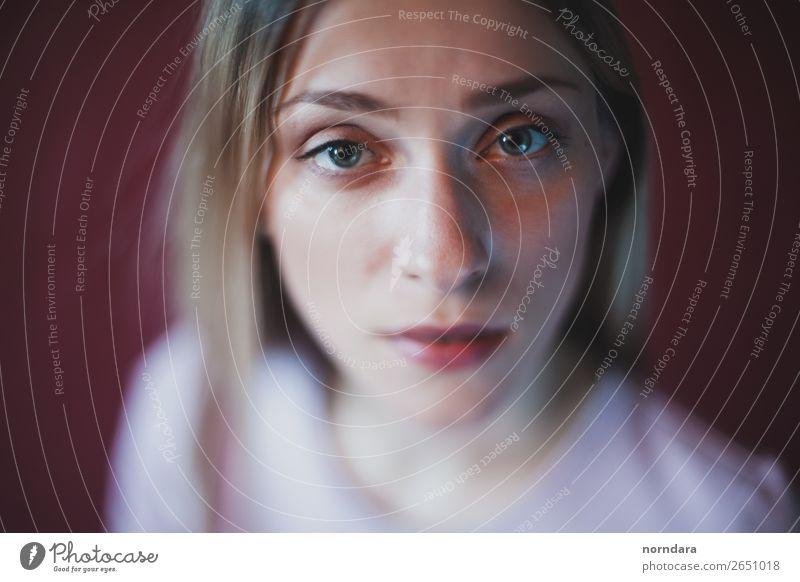 Blaue Augen feminin Junge Frau Jugendliche Gesicht 1 Mensch 18-30 Jahre Erwachsene blond Blick ästhetisch dünn Gefühle Stimmung Tugend Liebe Wahrheit