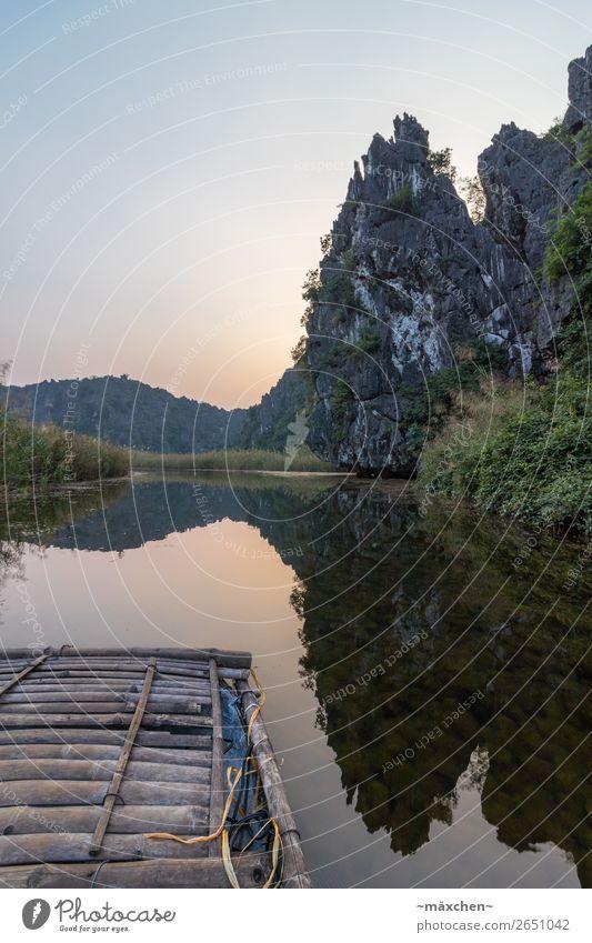 Van Long - Ninh Binh (Vietnam) Ferien & Urlaub & Reisen Natur Wasser Landschaft Baum Erholung ruhig Ferne Küste Gras Freiheit Felsen Stimmung Schönes Wetter