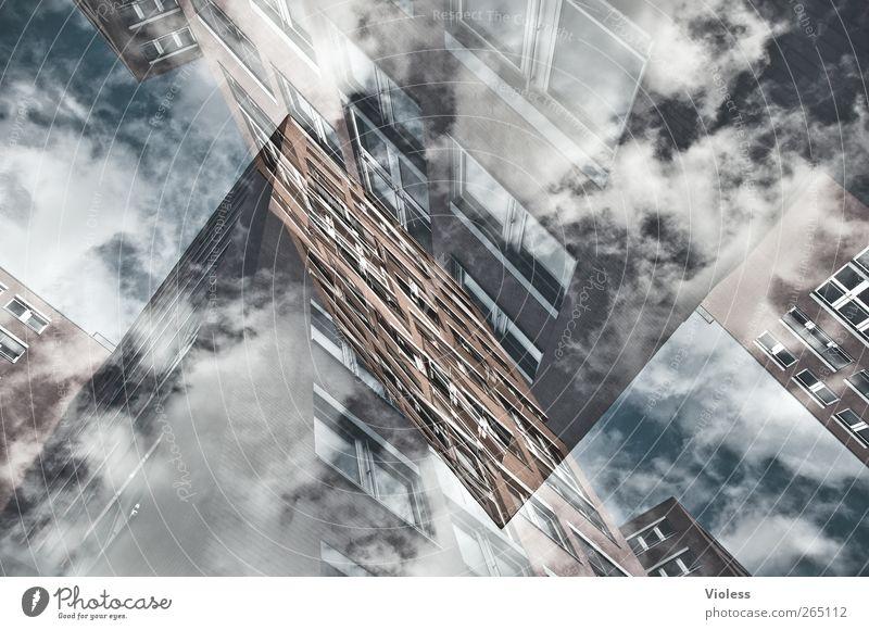 Zwischenwelt Himmel Wolken Haus Fenster Gebäude träumen Hochhaus Doppelbelichtung