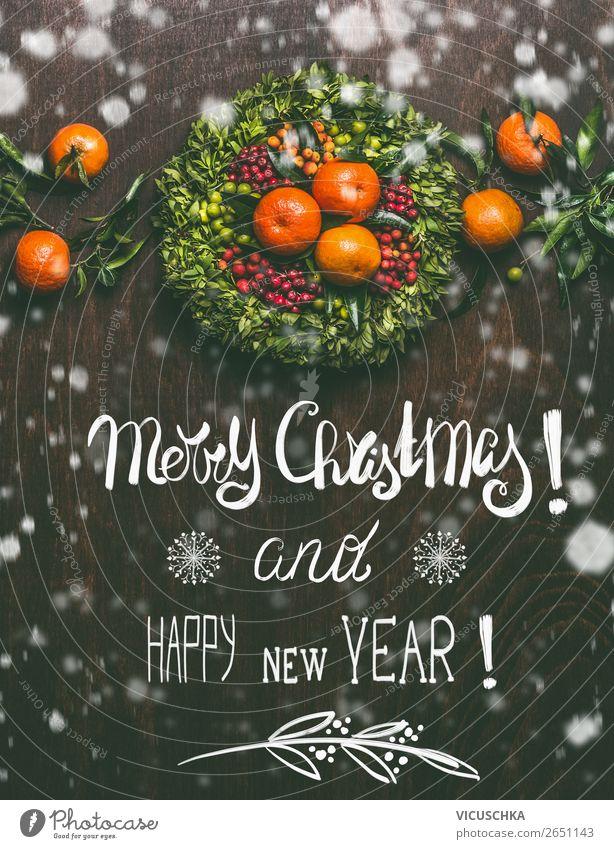 Merry Christmas and Happy New Year - Weihnachtskarte kaufen Stil Design Winter Dekoration & Verzierung Feste & Feiern Weihnachten & Advent Ornament Stimmung