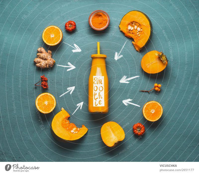 Orange Smoothie Zutaten Lebensmittel Gemüse Frucht Ernährung Bioprodukte Vegetarische Ernährung Diät Getränk Saft Flasche kaufen Stil Design Gesundheit