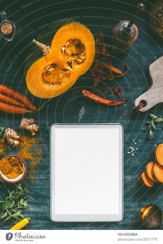 Tablet PC mockup für Kürbisgerichte Lebensmittel Gemüse Kräuter & Gewürze Ernährung Mittagessen Abendessen Bioprodukte Vegetarische Ernährung Diät Geschirr Stil