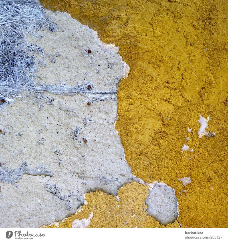 Atlantis alt blau Stadt gelb Wand Stein Gebäude Mauer gold Fassade Beton außergewöhnlich ästhetisch kaputt Wandel & Veränderung Vergänglichkeit