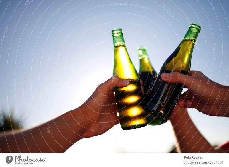 #AS# Auf die Freundschaft Getränk Alkohol Freude Bier Biergarten Bierflasche Flasche Glasflasche Anstoß Feste & Feiern Ritual Gruppenzwang Feierabend genießen