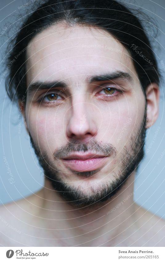 . Mensch Jugendliche schön Gesicht Erwachsene Haare & Frisuren natürlich maskulin 18-30 Jahre beobachten Junger Mann Sehnsucht dünn Bart schwarzhaarig