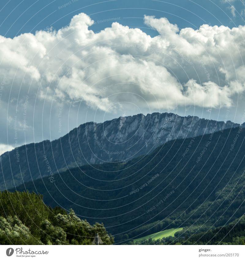 Ich bin noch nicht über den Berg. Himmel Natur blau grün Baum Pflanze Sommer Wolken Wald Umwelt Landschaft Wiese Berge u. Gebirge grau Felsen wild