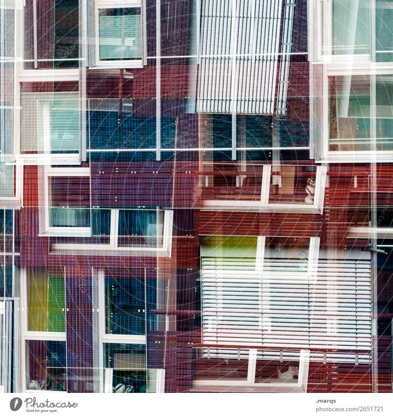 Fenster Stil Design Fassade Jalousie Linie außergewöhnlich Coolness einzigartig modern verrückt violett rot schwarz weiß ästhetisch chaotisch Farbe Perspektive