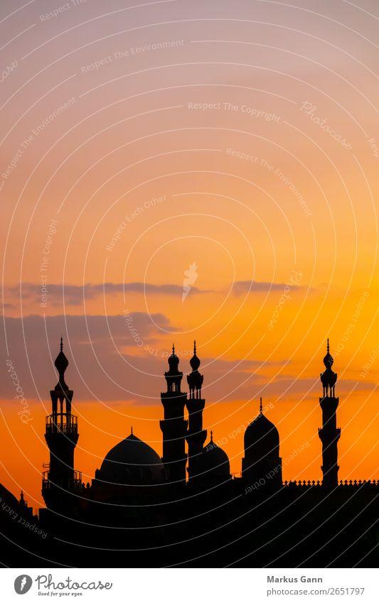 Moschee Al-Rifa'i und Sultan Hassan in Kairo Himmel Ferien & Urlaub & Reisen Stadt Reisefotografie schwarz Hintergrundbild Religion & Glaube orange Skyline