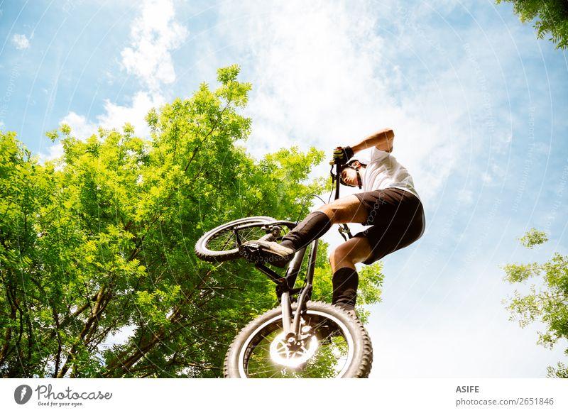 Radfahrer Extremspringen Freiheit Sommer Berge u. Gebirge Sport Fahrradfahren Mann Erwachsene Natur Baum Wald Felsen frei stark Reiter extrem jung