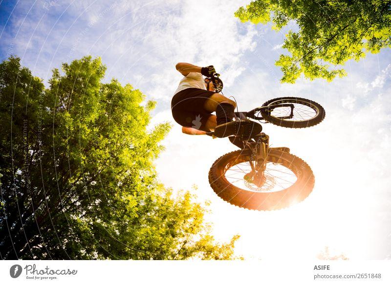 Junge Radfahrer Extremsprung Freiheit Sommer Berge u. Gebirge Sport Fahrradfahren Mann Erwachsene Natur Baum Wald Felsen springen frei stark Reiter extrem jung