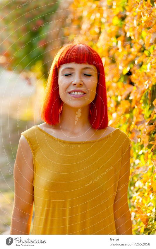 Schöne rothaarige Frau mit geschlossenen Augen in einem Park. Lifestyle Stil Glück schön Haare & Frisuren Gesicht Wellness ruhig Sommer Mensch Erwachsene Natur
