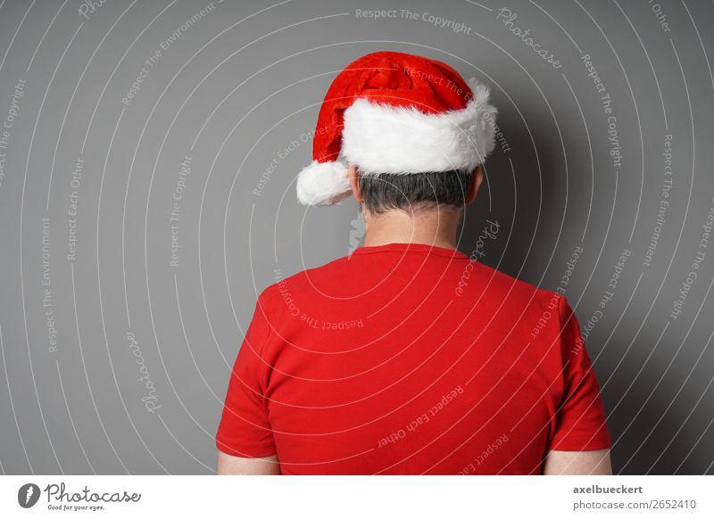 Weihnachtsmann von hinten Lifestyle kaufen Feste & Feiern Weihnachten & Advent Mensch maskulin Junger Mann Jugendliche Erwachsene 1 18-30 Jahre 30-45 Jahre