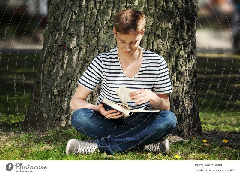 Mensch Jugendliche Baum Sonne Sommer Freude Erwachsene Erholung Leben Gras Garten Park blond sitzen lernen Fröhlichkeit