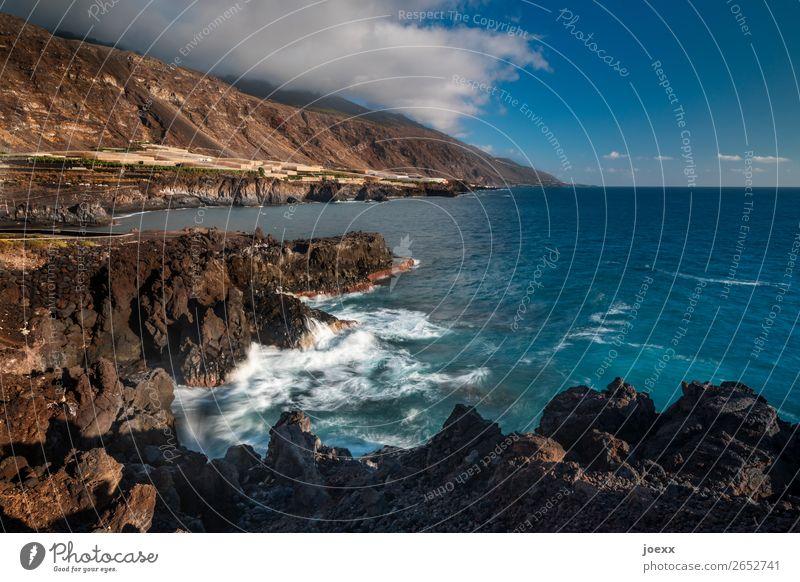 Tausendstel Momente Natur Wasser Himmel Wolken Schönes Wetter Felsen Berge u. Gebirge Wellen Küste Meer Insel La Palma eckig maritim wild blau braun weiß