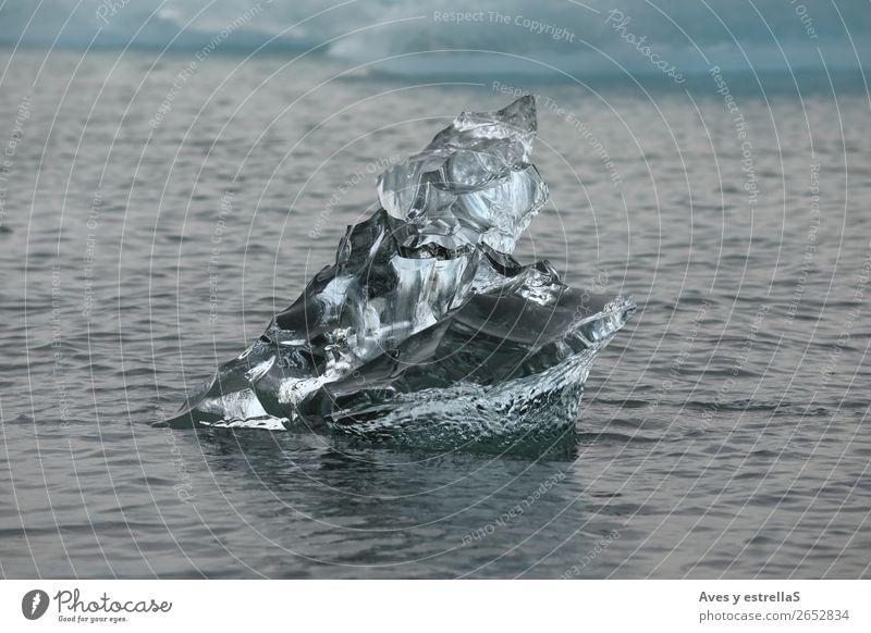 Formen auf einem Stück Gletschereis Winter Umwelt Natur Wasser Klima Klimawandel Eis Frost Nordsee Meer Insel Kristalle frieren blau grau schwarz silber weiß