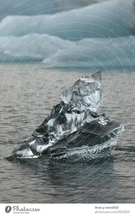Formen auf einem Stück Gletschereis Meer Insel Winter Umwelt Natur Wasser Klima Klimawandel Eis Frost Nordsee Kristalle frieren kalt blau schwarz silber weiß
